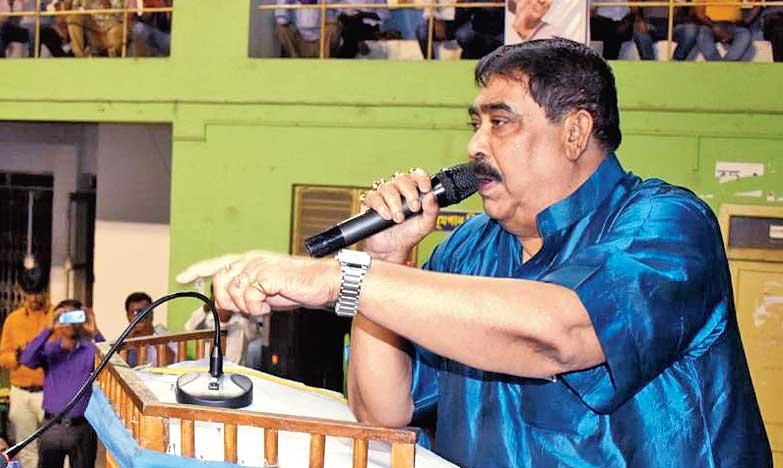 Anubrata Mondal addresses the meeting on Sunday.