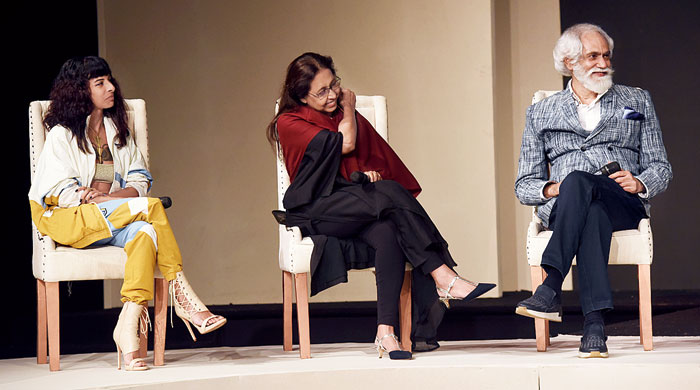 """(Left to right) Multidisciplinary artist Anushka Menon, fashion designer Anju Modi, Fashion Design Council of India president Sunil Sethi, along with kantha revivalist Shamlu Dudeja and fashion designer Paromita Banerjee discussed and explored: How can traditional craftsmanship survive in the modern world. """"Our reason for doing this is even if we can get even 20, 30, 40 per cent of the younger audience today interested in craft by seeing our 22 designers and their creations, if they hear and take inspiration from our panellists, our job is done…. Craft is mainstream now. Take it or leave it, you cannot ignore it,"""" said the evergreen Sethi, dressed in a handwoven ikat jacket. The talk was co- moderated by Gautam Bhimani."""
