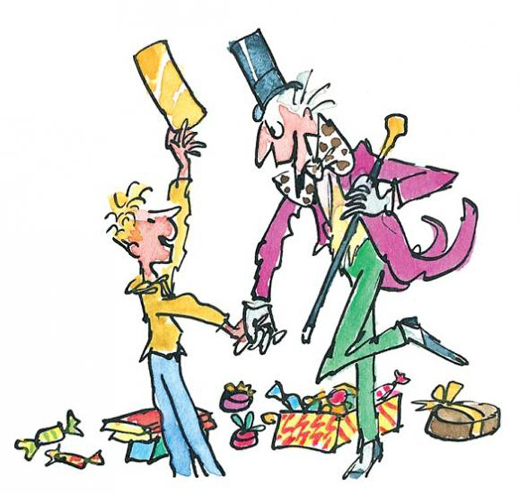 An illustration of Willy Wonka by Sir Quentin Blake