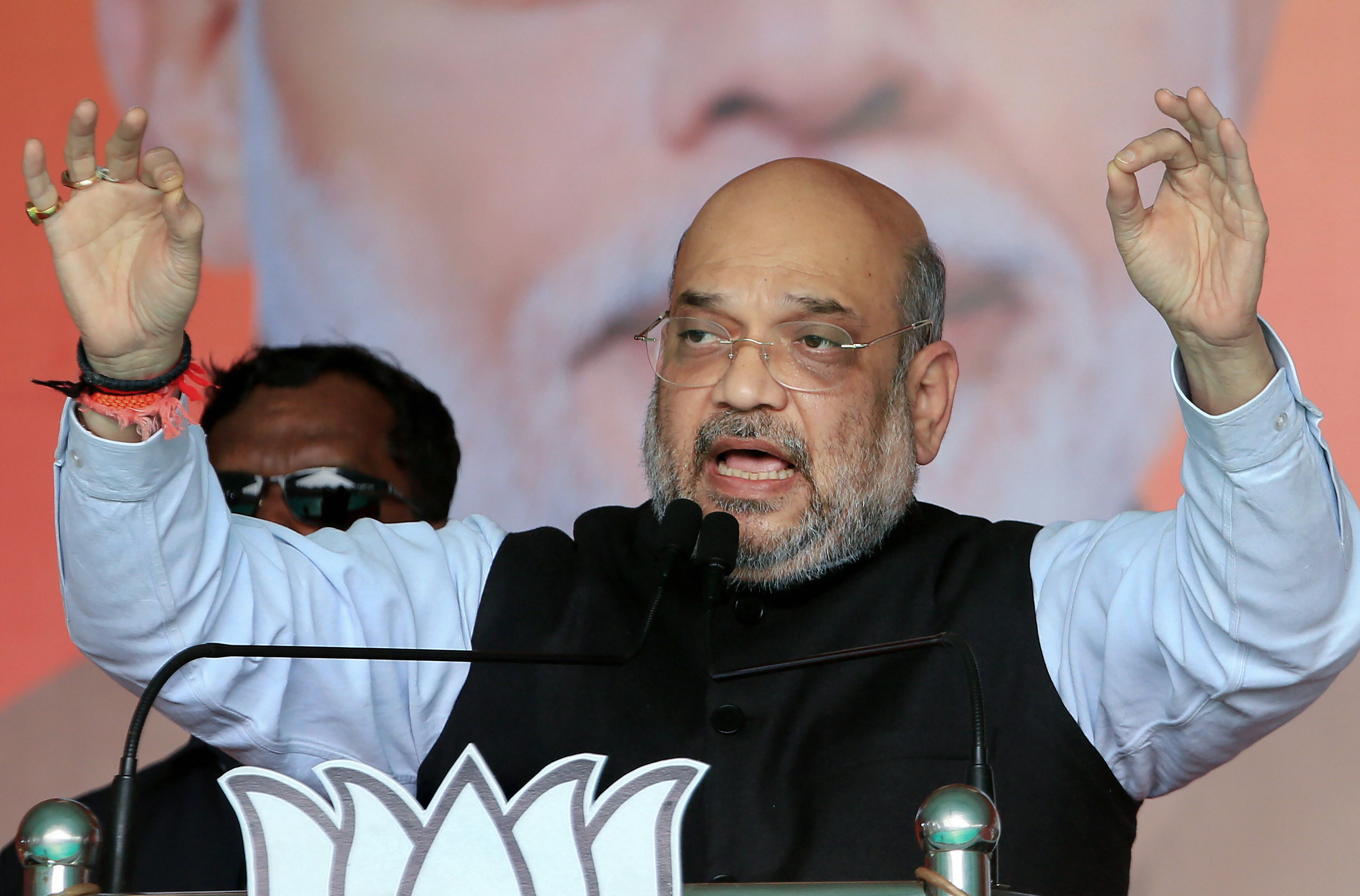 Union home affairs minister and BJP national president Amit Shah addresses during an election campaign rally, in support of BJP candidate from Barharwah assembly constituency Beni Prasad Gupta, ahead of the fifth phase state Assembly elections,-in Pakur, Monday, December 16, 2019.