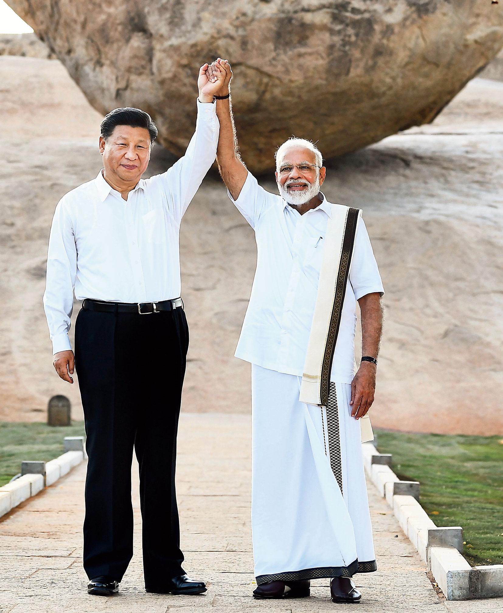 Modi and Xi in Mamallapuram, Tamil Nadu, on October 11, 2019.