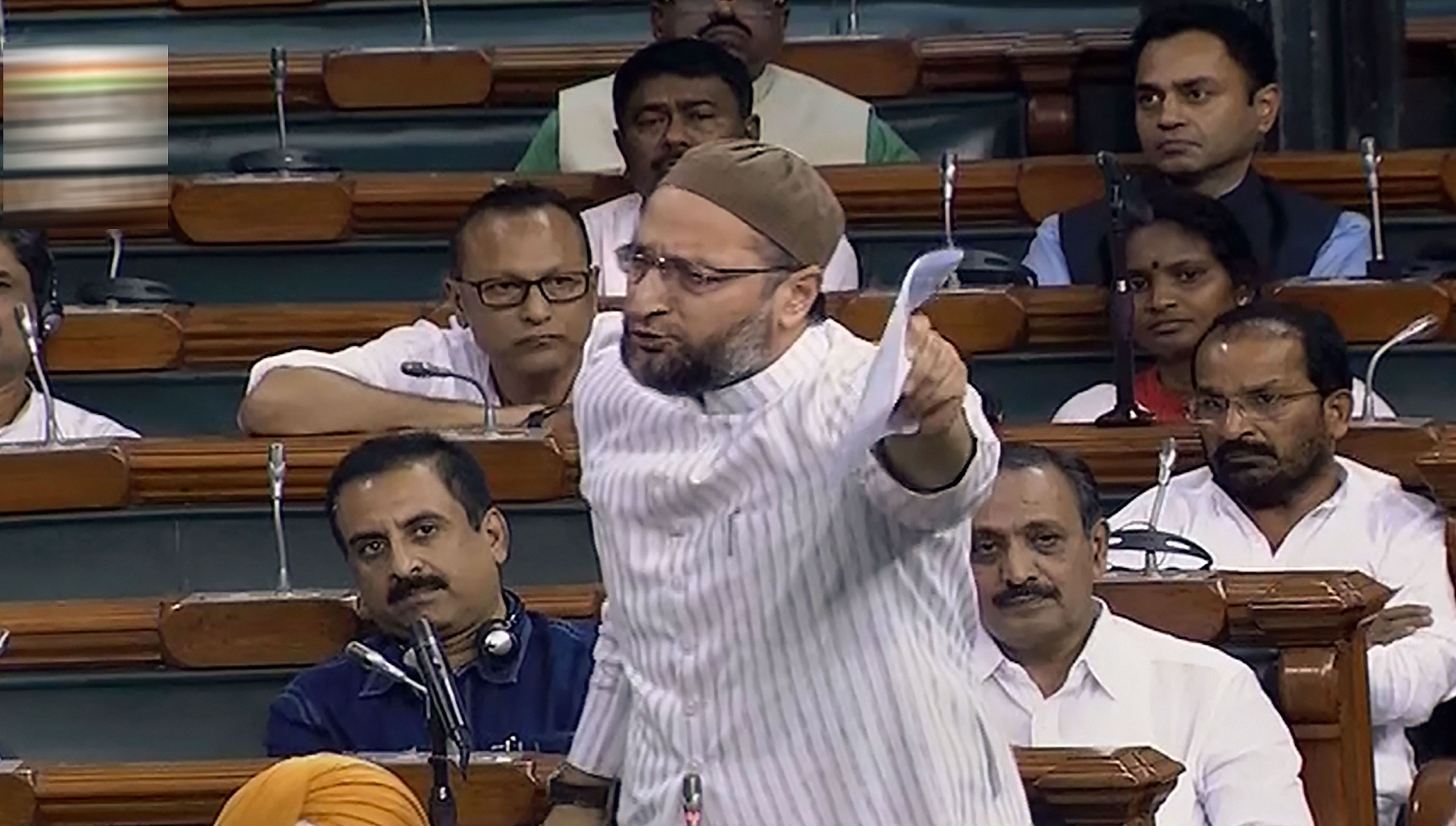 AIMIM MP Asaduddin Owaisi speaks in the Lok Sabha on August 6.