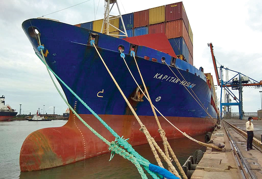 A ship at Haldia Port is bound to the dock by an array of ropes, more than the usual one each at the front and the rear, on Tuesday