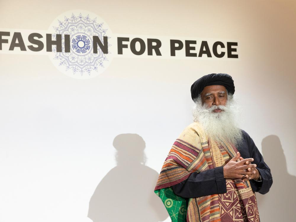 Sadhguru Jaggi Vasudev attends Fashion for Peace presentation in New York.