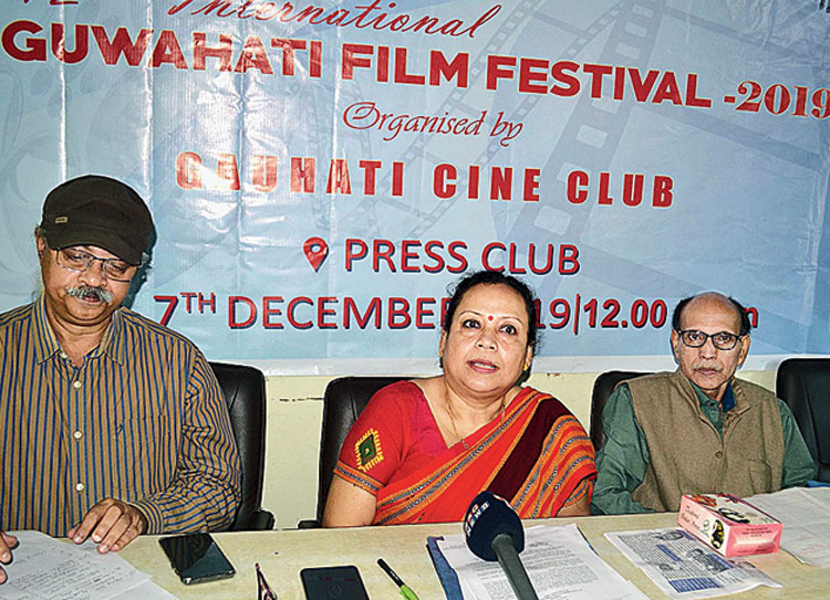 The members of Gauhati Cine Club at the news conference on Saturday