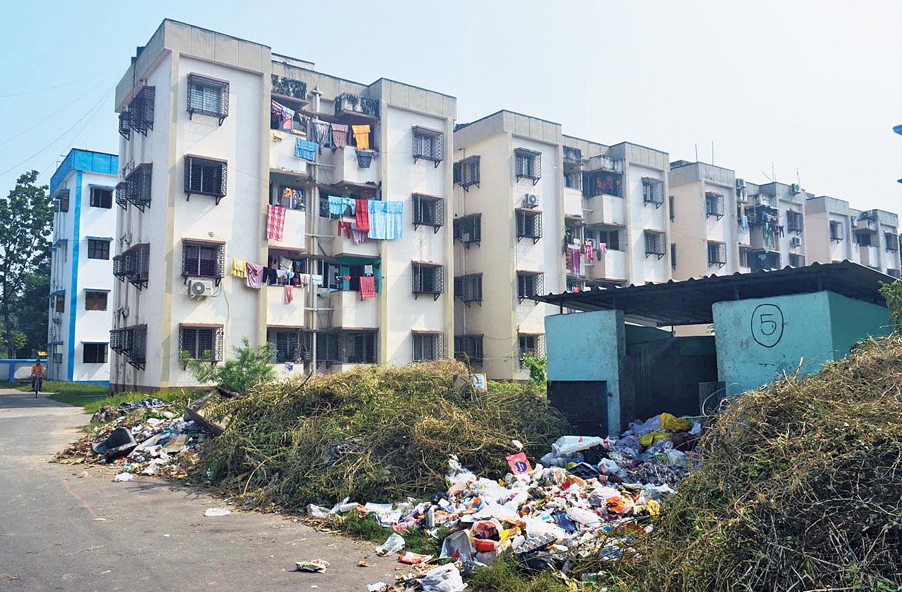 An overflowing vat inside Baisakhi housing complex.