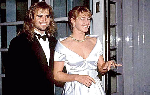 Agassi wins his first Grand Slam in 1992 at Wimbledon. The women's champion that year is future wife Steffi Graf