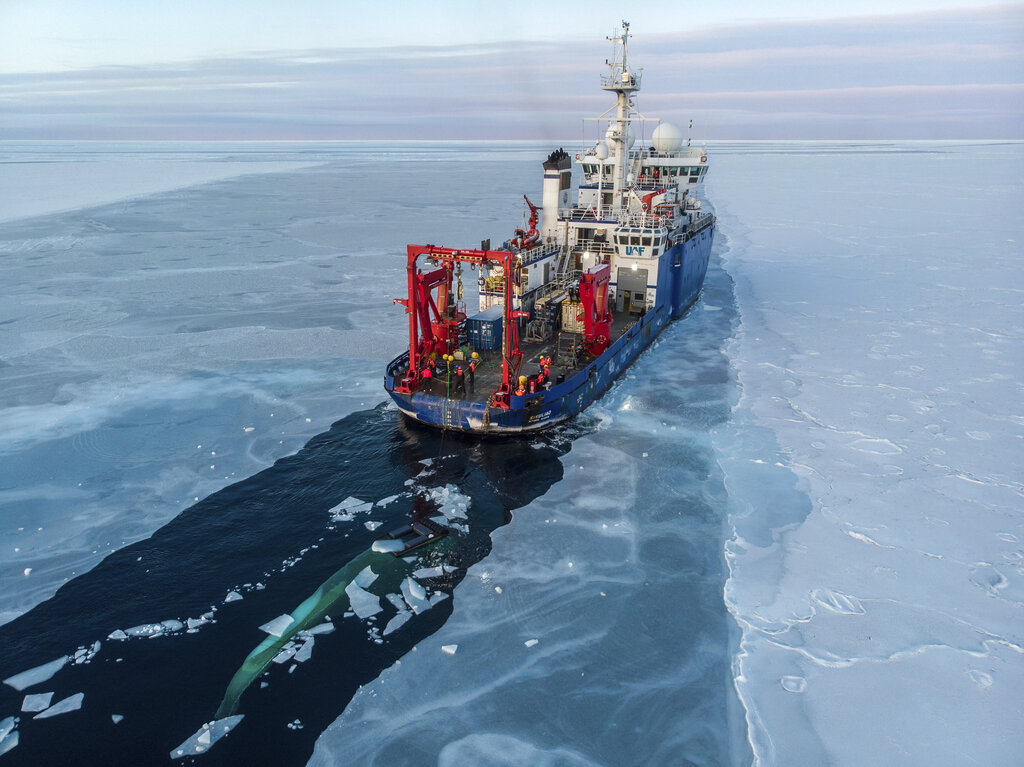In this Nov. 14, 2019, photo provided by John Guillote and taken from an aerial drone shows the U.S. research vessel Sikuliaq as it makes its way through sea ice in the Beaufort Sea off Alaska's north coast.