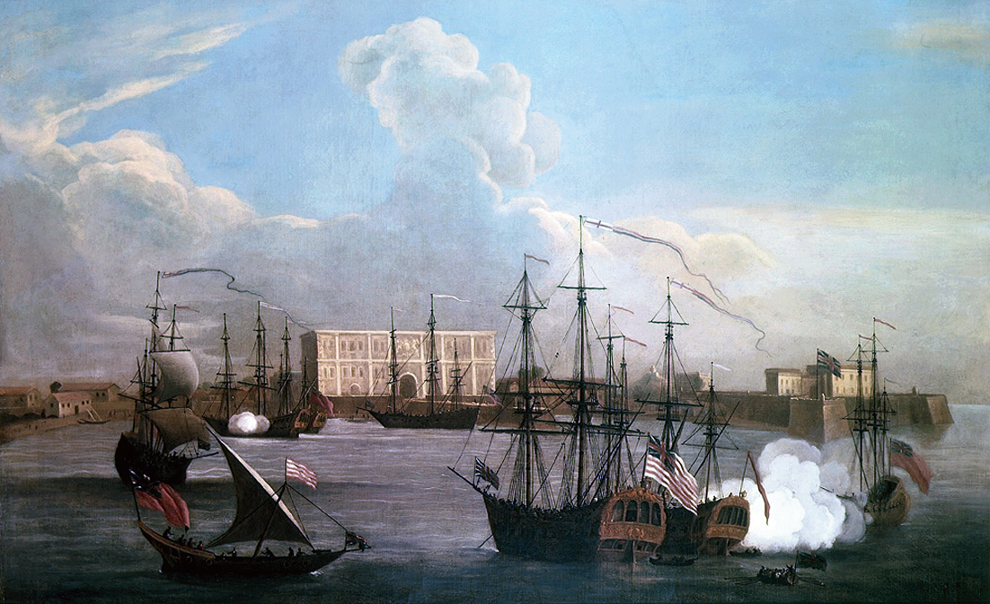 An 18th century painting by Samuel Scott depicting the East India Company's settlement in Bombay and trade ships in Bombay Harbour.