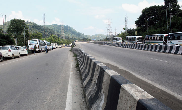An empty road in Khanapara in Guwahati during the transport strike on Thursday.