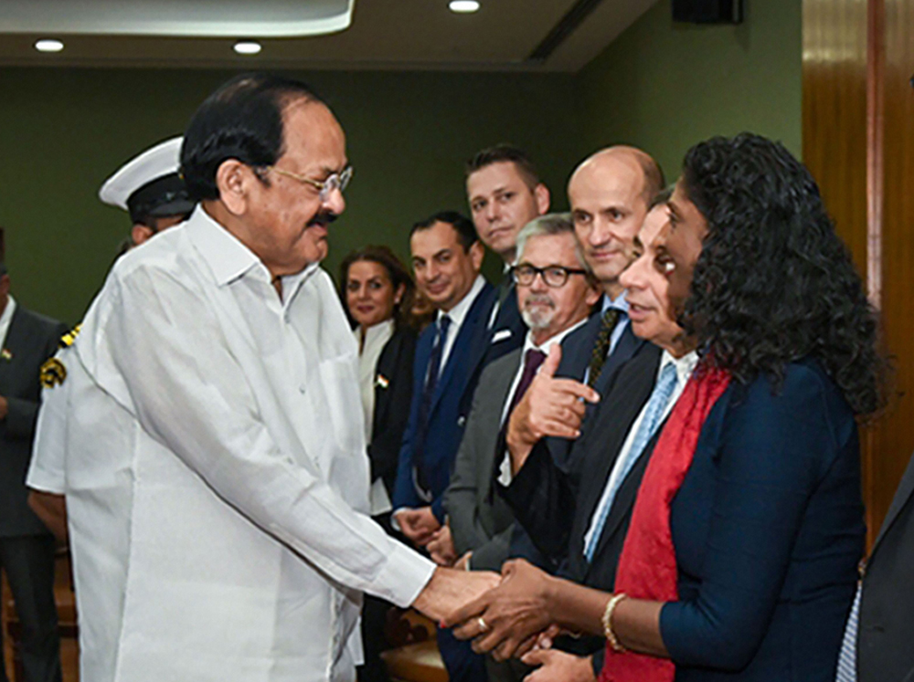 Vice President M. Venkaiah Naidu interacts with the parliamentarians from the European Union in New Delhi on Monday, October 28, 2019.