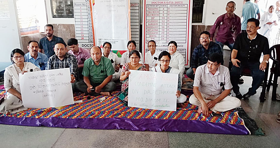 Doctors protest in Morigaon civil hospital on Saturday