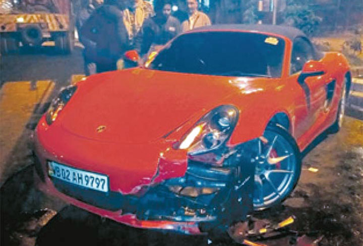 The Porsche 718 Boxster S, which was registered in the name of RAA Arsalan Enterprise, after the accident in Salt Lake in 2017