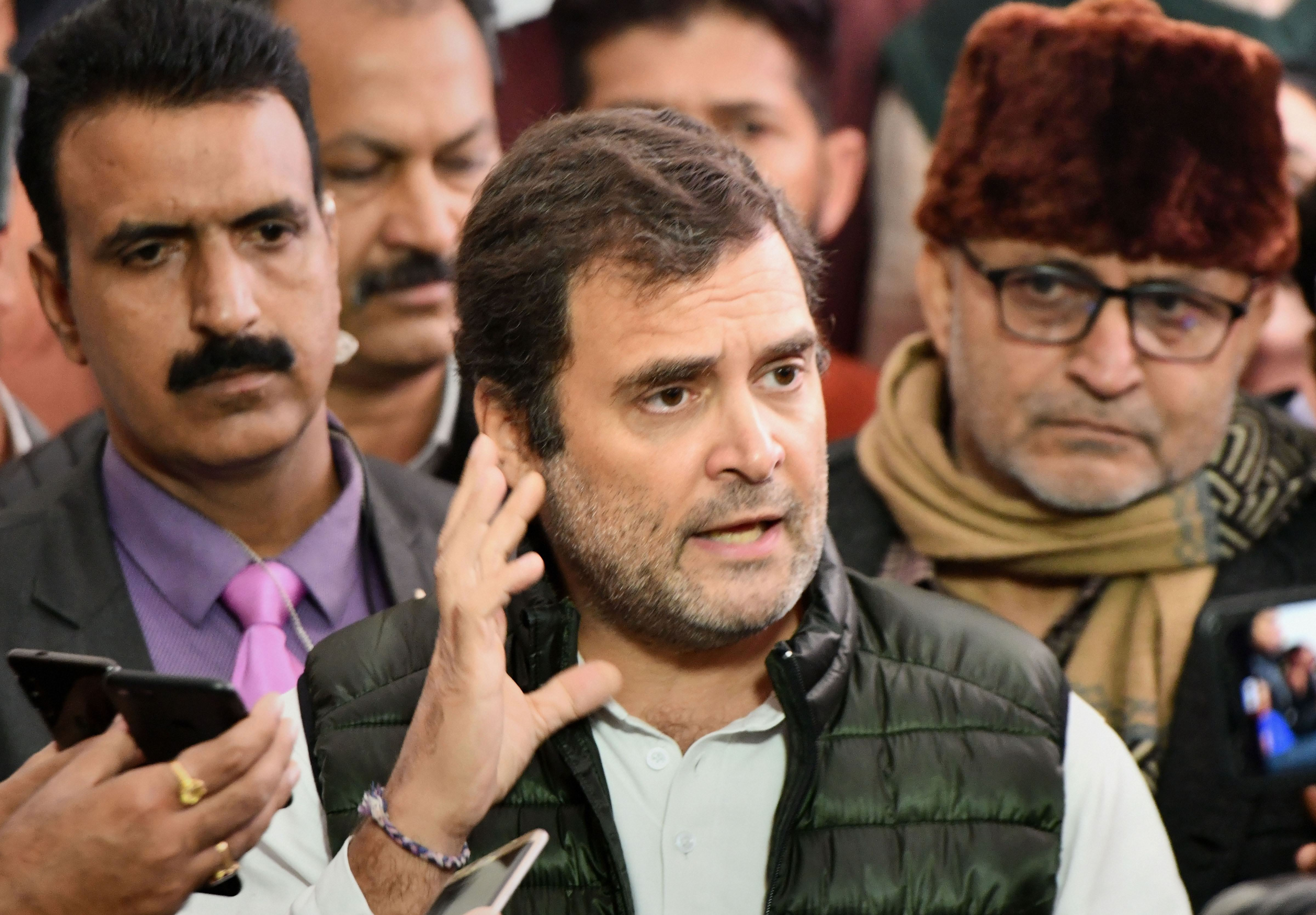 Congress leader Rahul Gandhi addresses the media at Parliament during the winter session, in New Delhi, Friday, December 13, 2019.