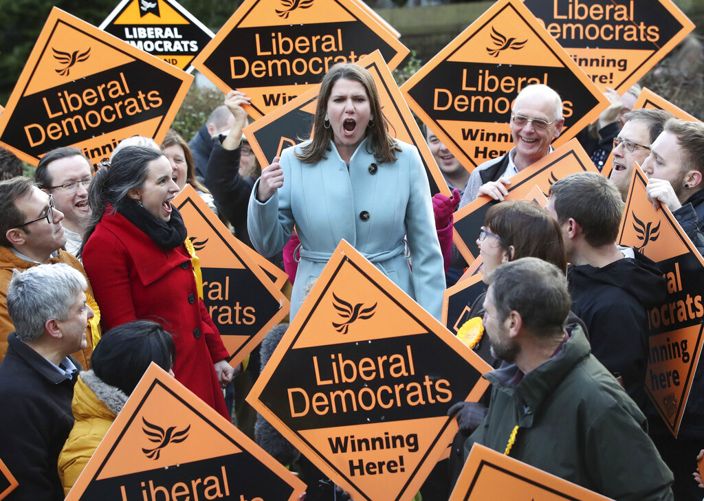 Liberal Democrat Leader Jo Swinson meets supporters during a visit, while on the General Election campaign, in Sheffield, England, Sunday, Dec. 8, 2019. Britain goes to the polls on Dec. 12.