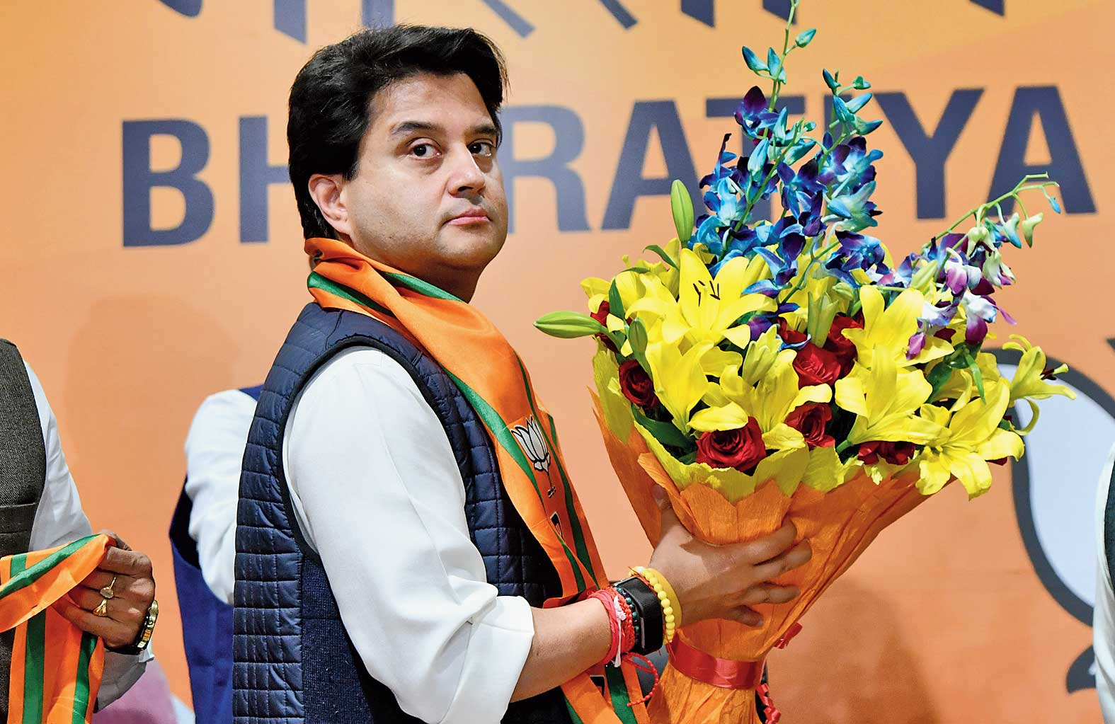 Jyotiraditya Scindia at the BJP headquarters in New Delhi, where he formally joined the party on Wednesday and promptly won a Rajya Sabha nomination.