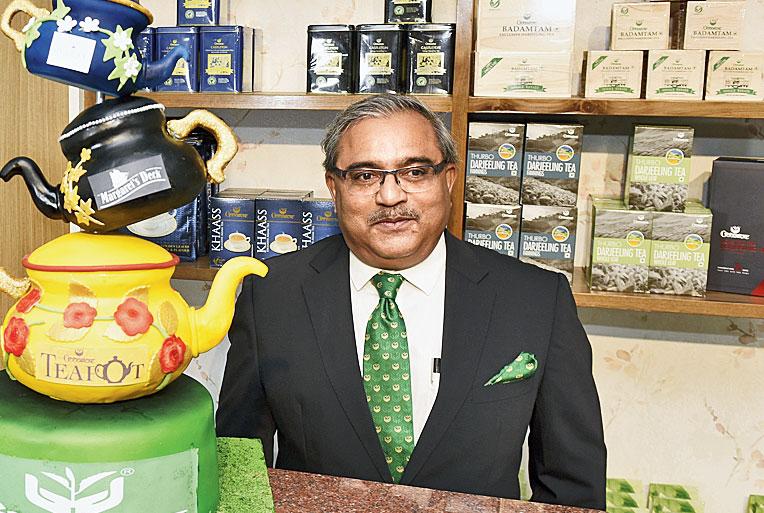 Atul Asthana at the new tea lounge in Calcutta on Sunday.