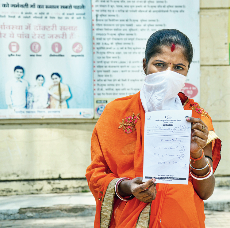 A pregnant woman in Ranchi last month shows a prescription where the doctor  has advised her to undergo a Covid-19 test.