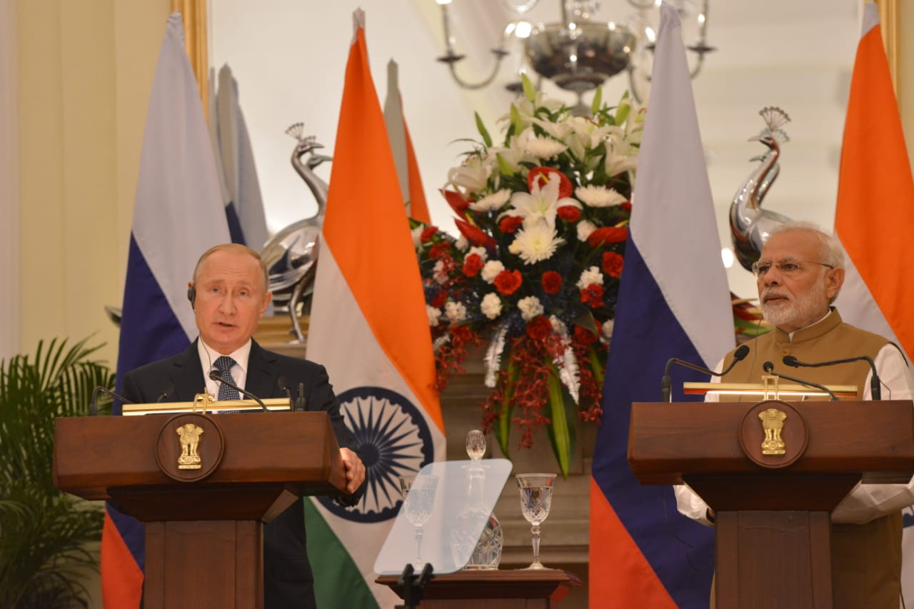 Russian President Vladimir Putin and Prime Minister Narendra Modi during their joint statement at Hyderabad House in New Delhi