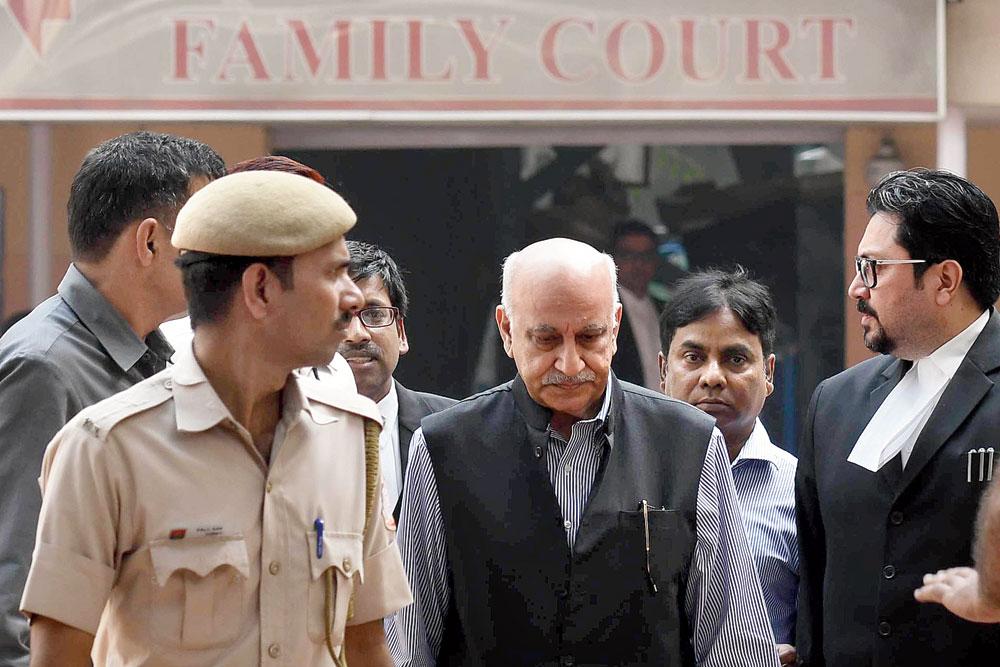 MJ Akbar leaves Patiala House court on Wednesday.