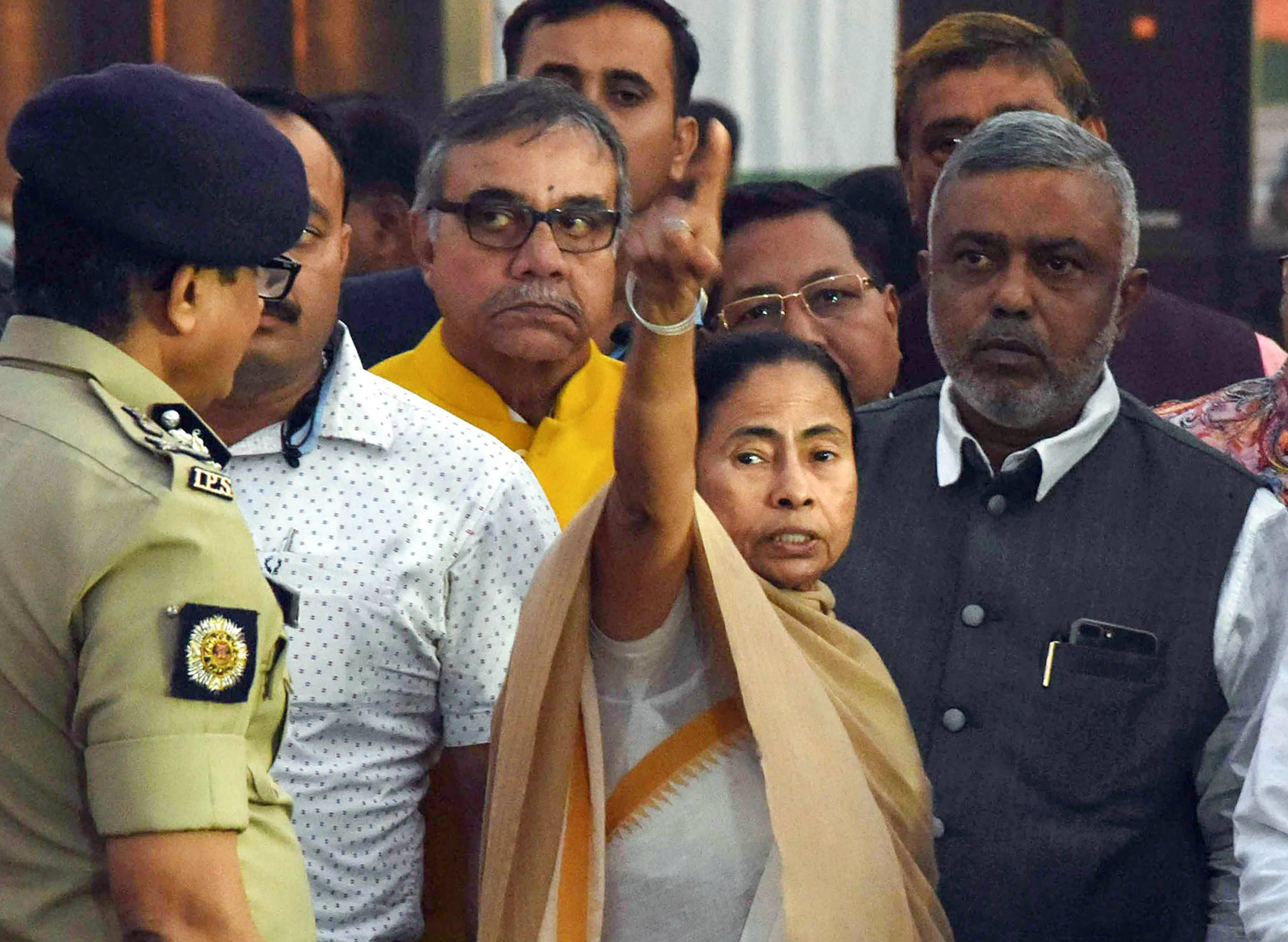Mamata Banerjee visits the Brigade Parade Ground ahead of the rally in Calcutta on Thursday.