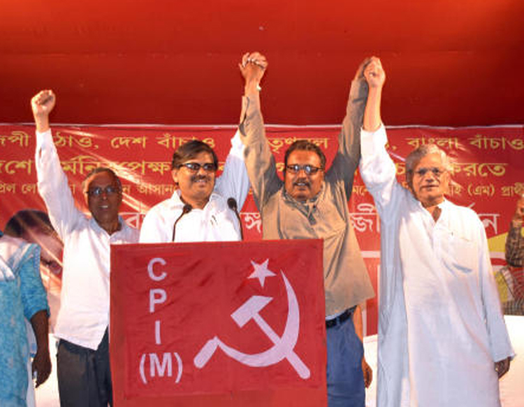 CPM general secretary Sitaram Yechury (extreme right) campaigning for Lok Sabha Election 2019 in West Bengal. Today there is little to distinguish the Left from others.