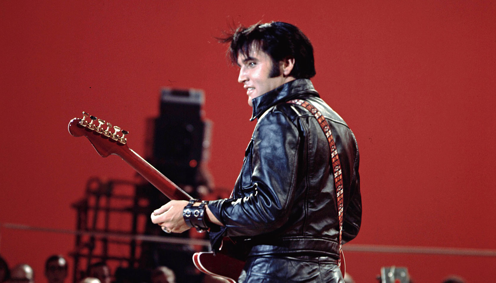 Elvis Presley at his iconic 1968 NBC Comeback Special.