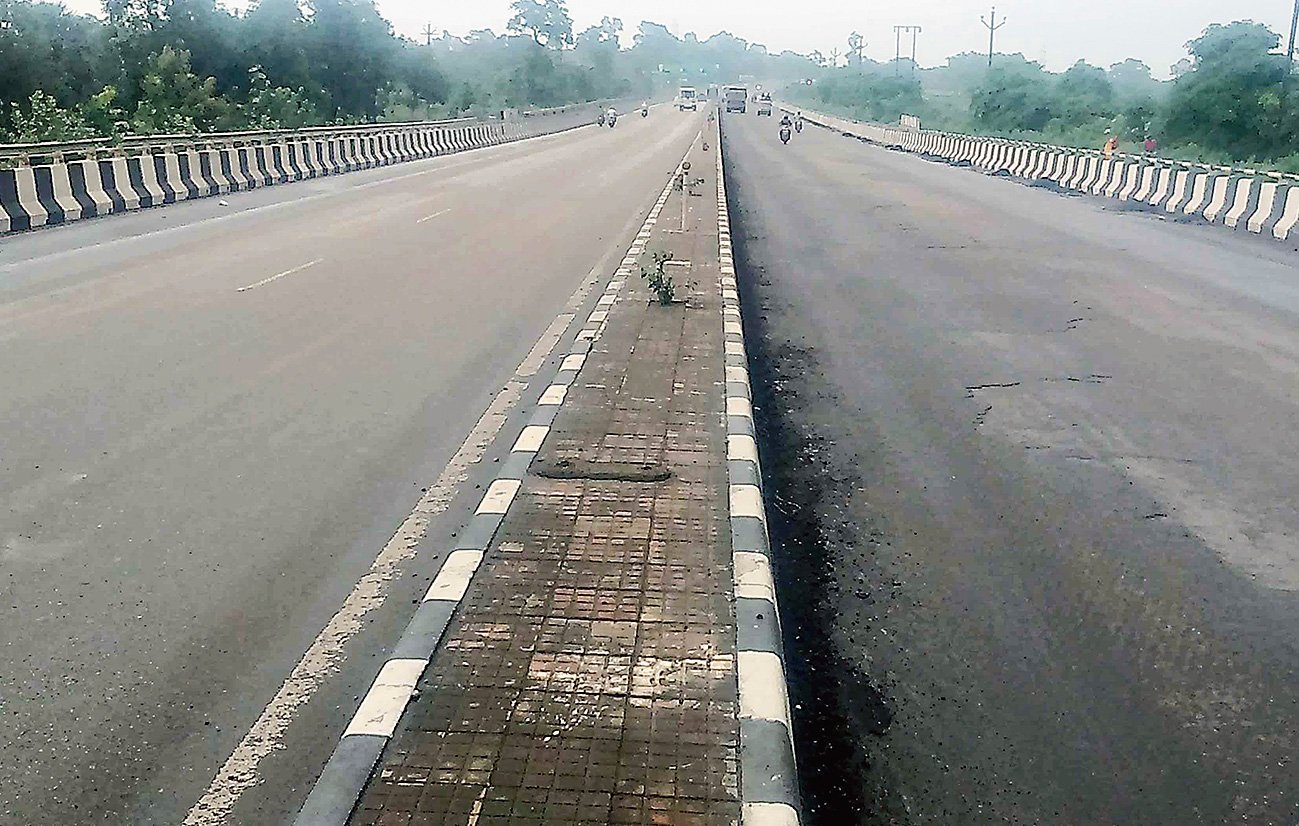 The accident-prone stretch of Tata-Kandra road in Kandra on Friday.