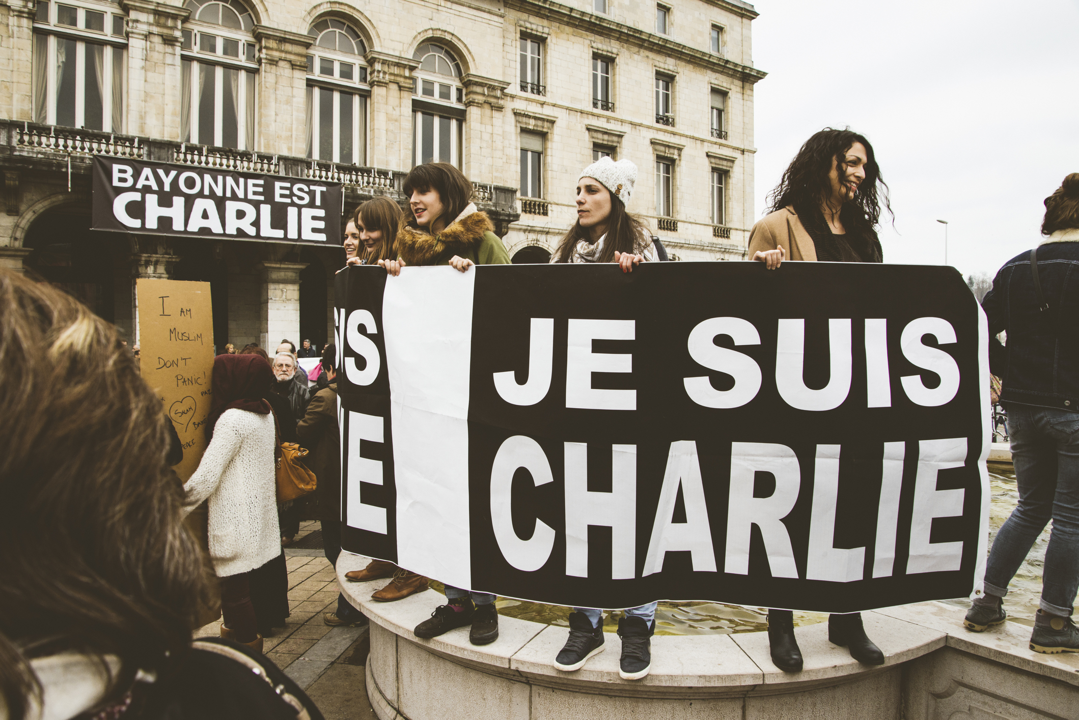 A protest in France after the terrorist attack on Charlie Hebdo.