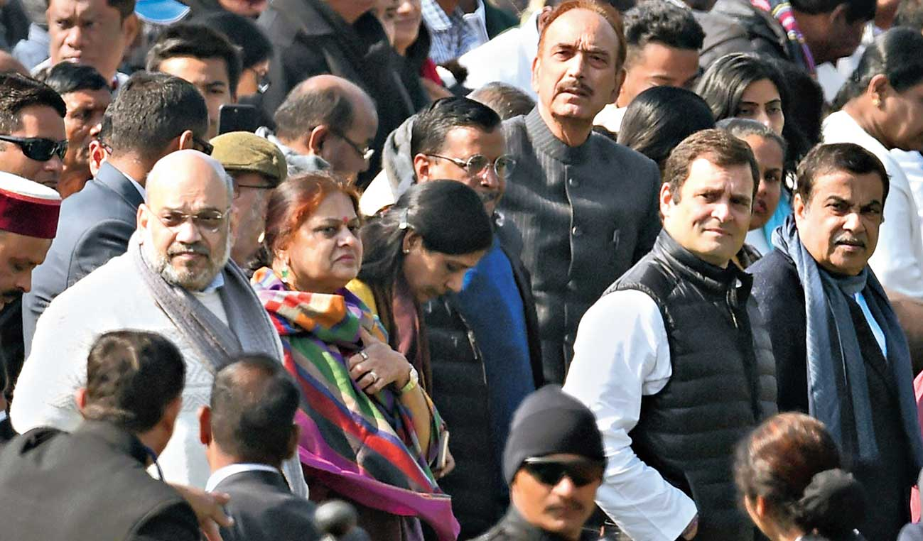 Amit Shah, Rahul Gandhi, Nitin Gadkari and other dignitaries during the Republic Day parade at Rajpath.