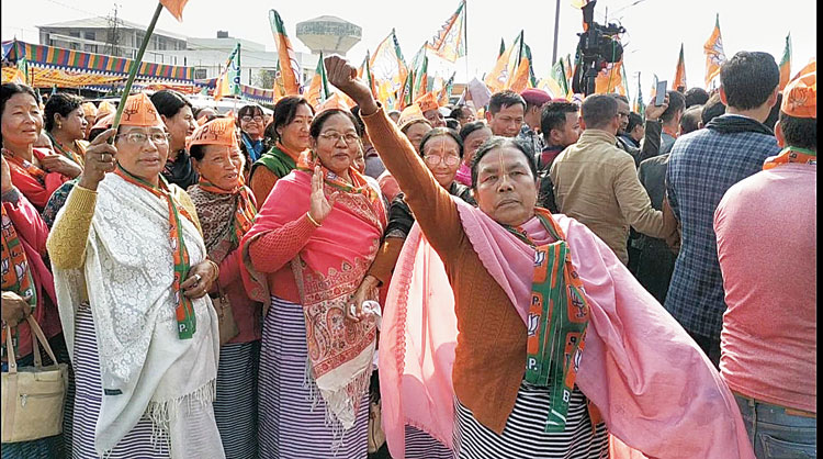 People in Imphal rejoice after the implementation of the ILP in Manipur on Wednesday.