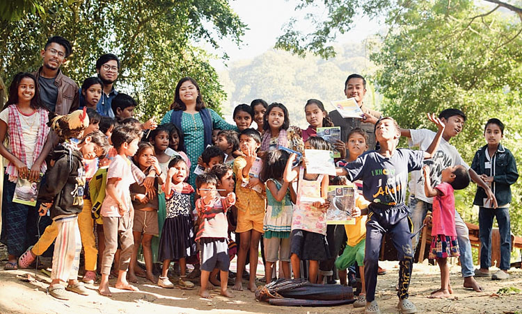 Julie Kakoty with the children.