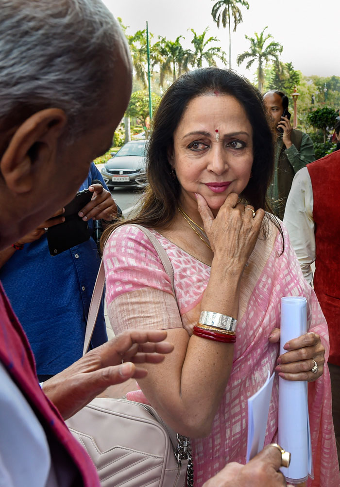 BJP MP Hema Malini at Parliament during the budget session earlier this month