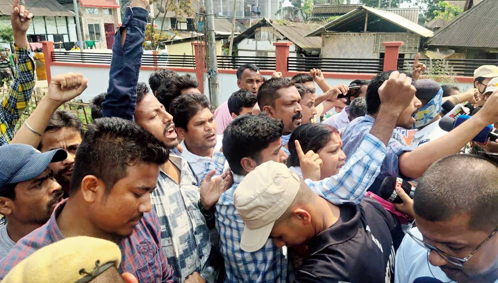 Supporters of Akhil Gogoi protest in Sivasagar on Thursday.