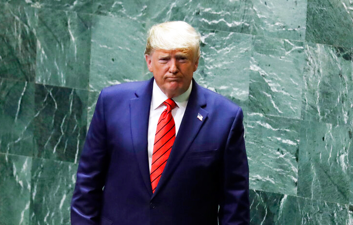 President Donald Trump walks away after delivering remarks to the 74th session of the United Nations General Assembly on Tuesday, September 24, 2019, in New York.