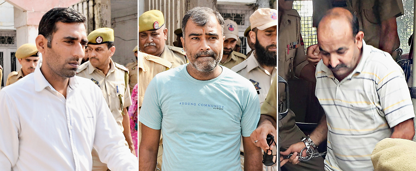 File pictures of the three accomplices, Anand Dutta, Surender Verma and Tilak Raj.
