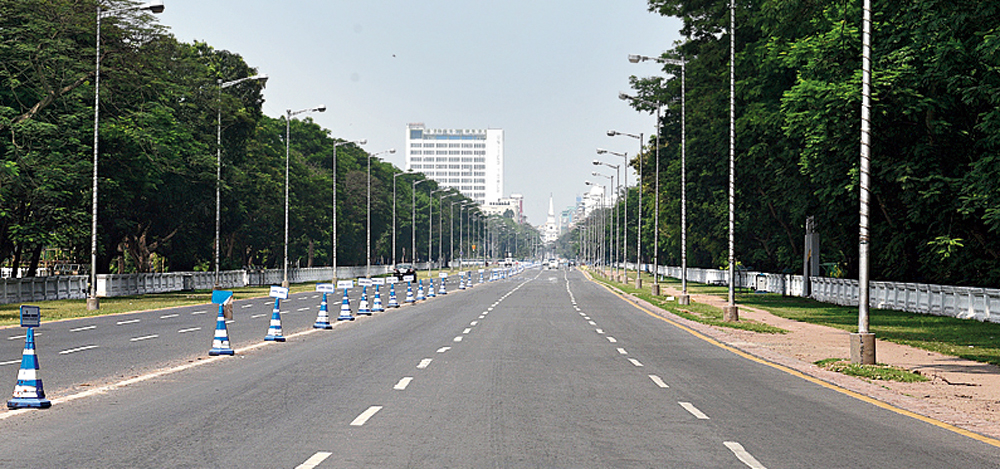 Red Road in Calcutta during the lockdown