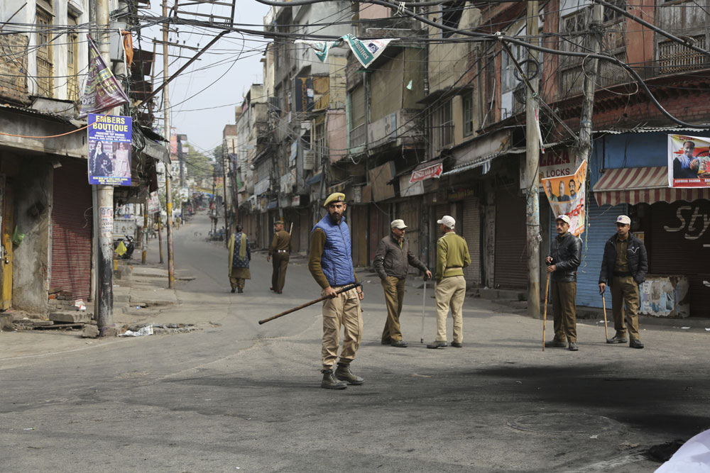 Policemen patrol during the third day of curfew in Jammu after the Pulwama attack on Sunday. Pulwama didn't erupt in a vacuum. Behind the carnage lies centuries of tortuous history, invasions, intrigue, conquests, defeats and betrayals.