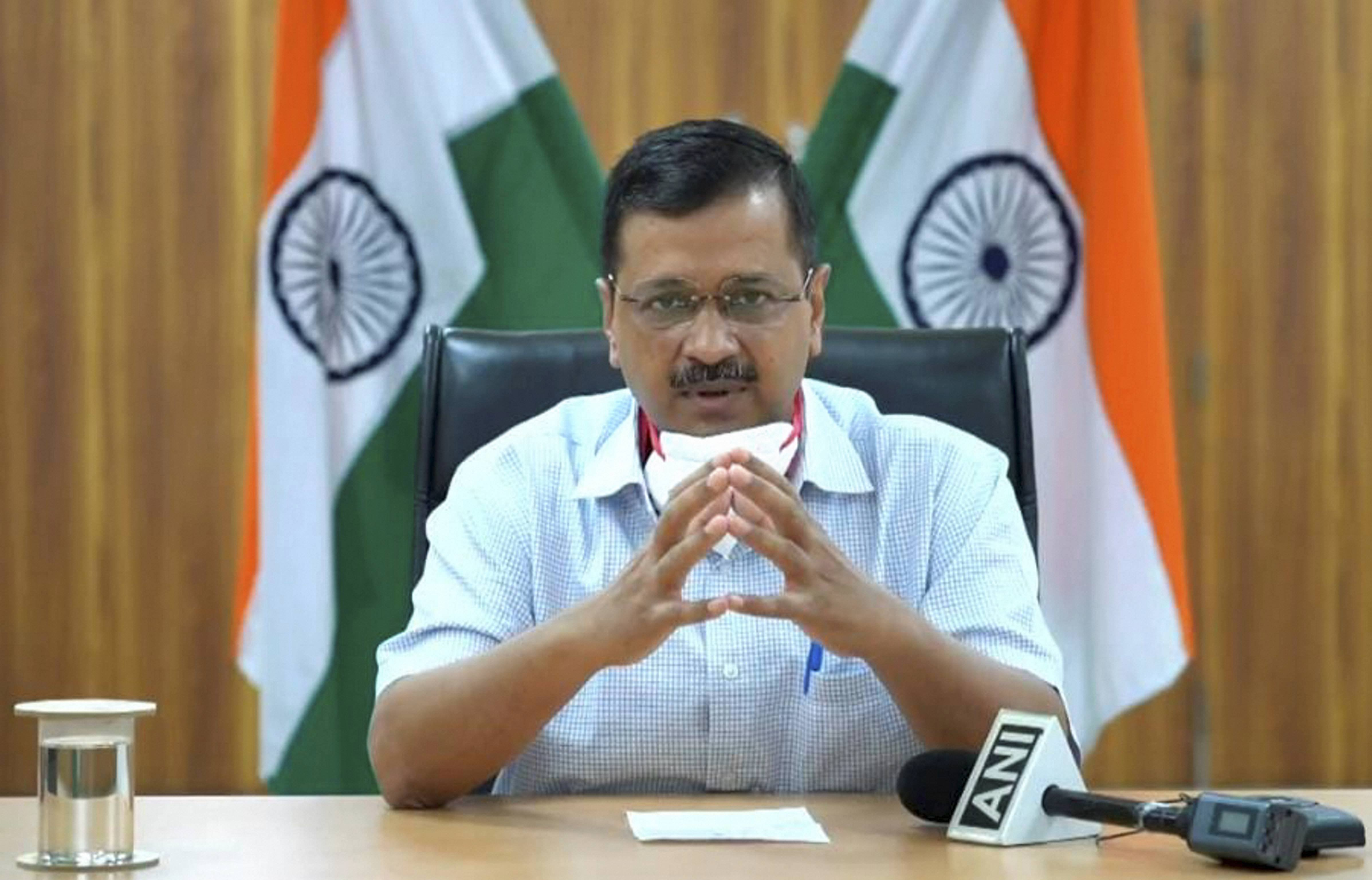 Arvind Kejriwal during the launch of the Delhi Corona app on Tuesday