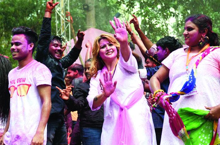 Pre-Holi celebration at Children's Park in Morabadi, Ranchi, on Saturday
