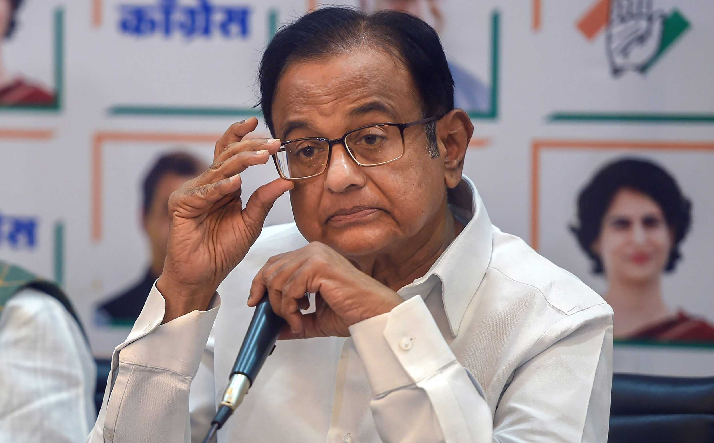 P. Chidambaram during a press conference in Mumbai on April 27, 2019.