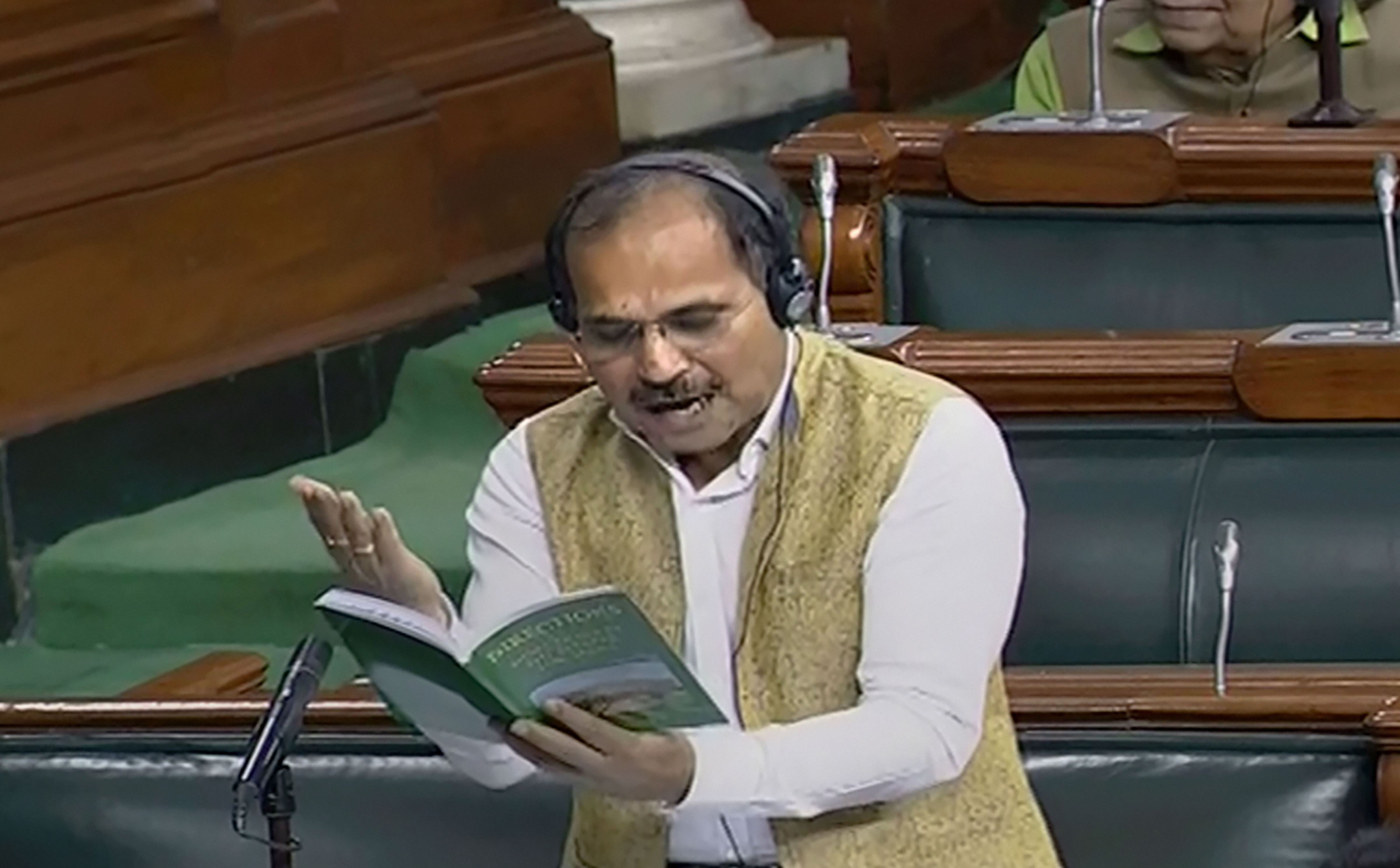 Congress leader Adhir Ranjan Chowdhury speaks in the Lok Sabha during the winter Session of Parliament, in New Delhi, Tuesday, November 26, 2019.