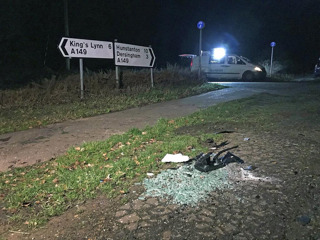 The scene near Sandringham Estate where Prince Philip was involved in a road accident