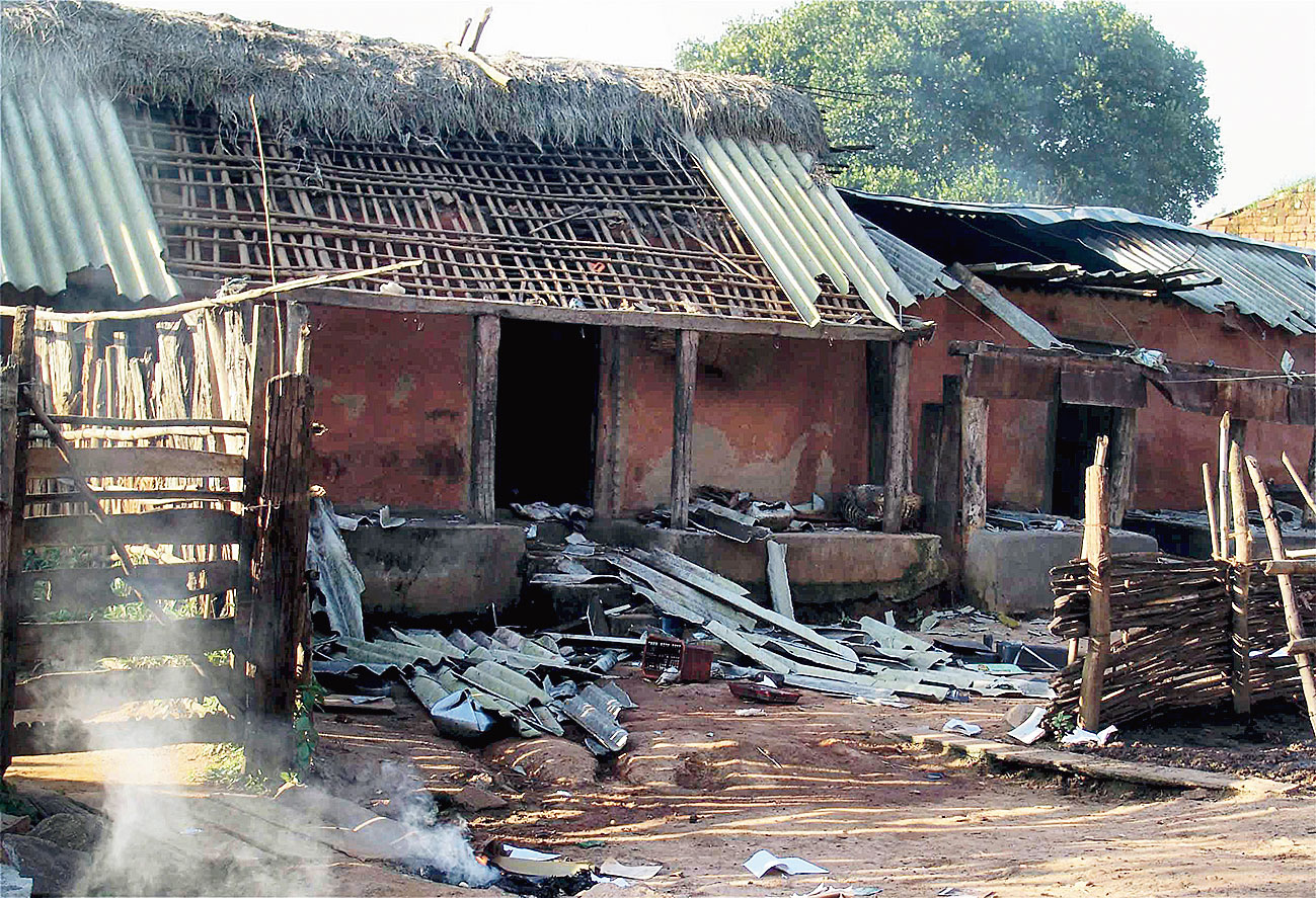 House in Baliguda in Odisha's Kandhamal district, damaged during riots