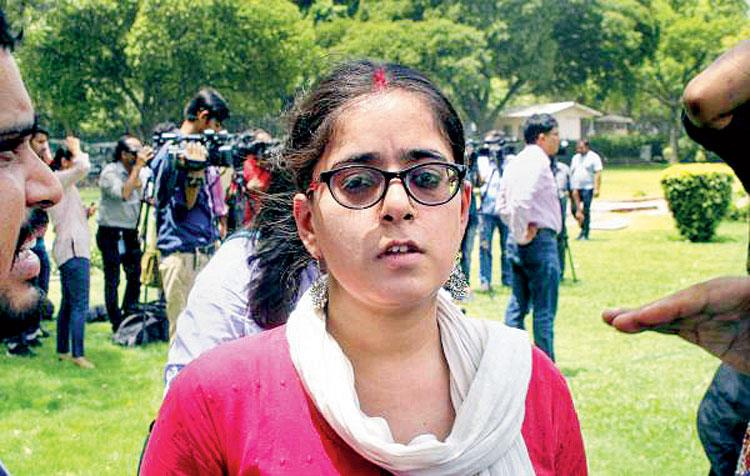 Jagisha Arora, wife of journalist Prashant Kanojia, outside the Supreme Court on Tuesday