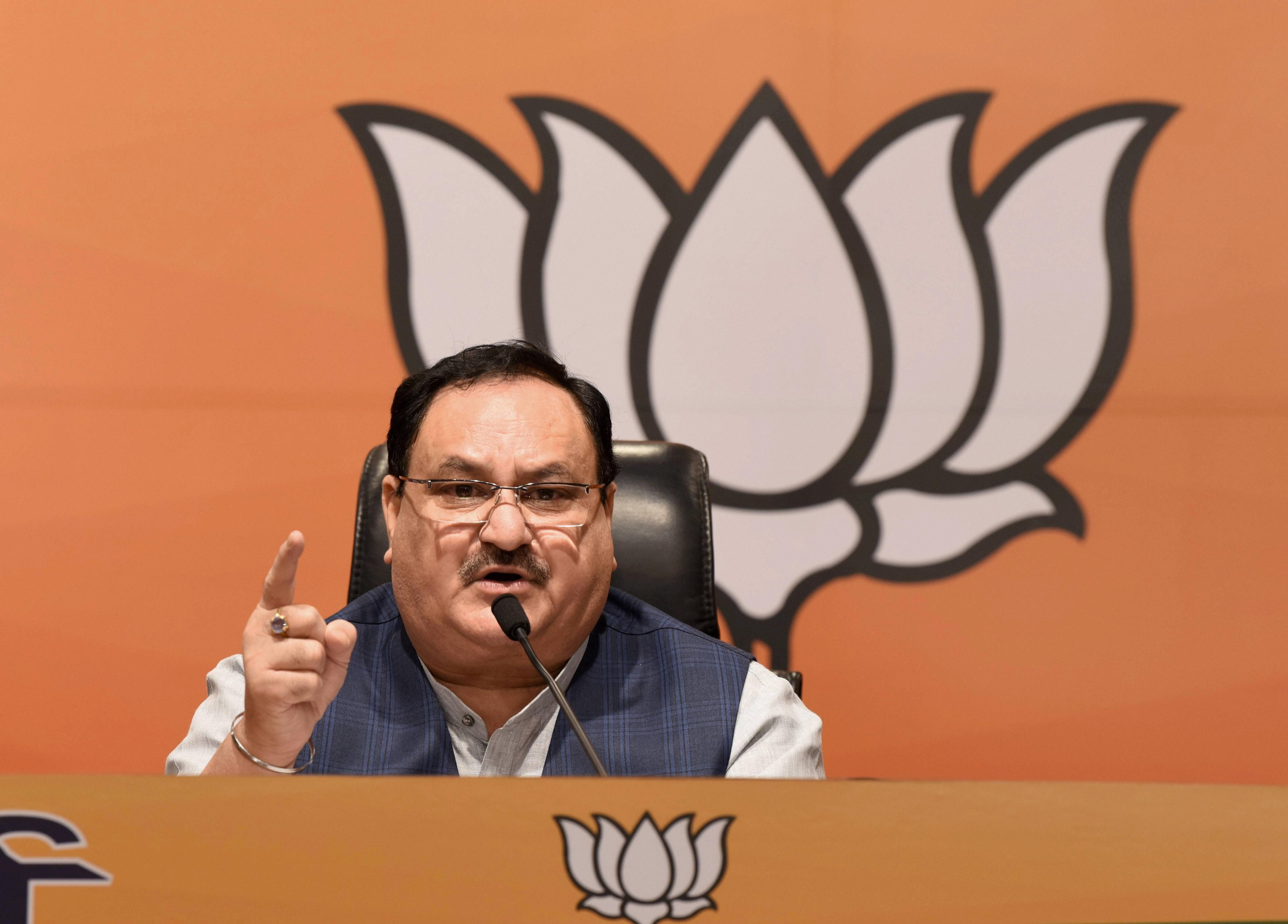 BJP National Presiden JP Nadda addresses a press conference in New Delhi on Saturday.
