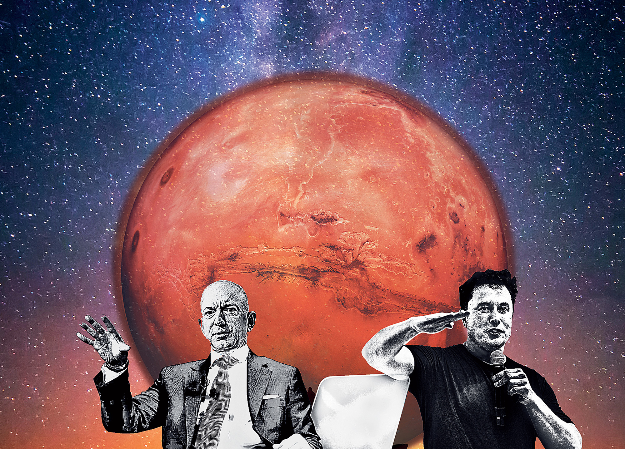 Billionaires Elon Musk and Jeff Bezos want to go live on the Red Planet.