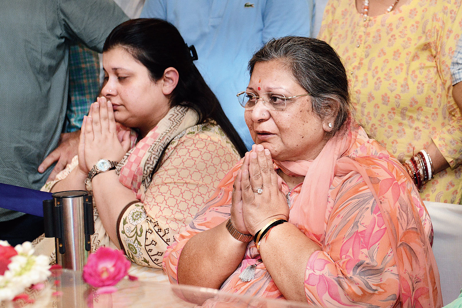 "Jaitley's wife Sangeeta and daughter Sonali at their residence in Greater Kailash, New Delhi, on Saturday. Jaitley's wife Sangeeta and daughter Sonali at their residence in Greater Kailash, New Delhi, on Saturday. Bengal chief minister Mamata Banerjee offered her condolences to Jaitley's wife and children and said: ""Extremely saddened at the passing away of Arun Jaitley Ji, after a battle bravely borne. An outstanding parliamentarian & a brilliant lawyer, appreciated across parties. His contribution to Indian polity will be remembered."" Picture by Prem Singh"