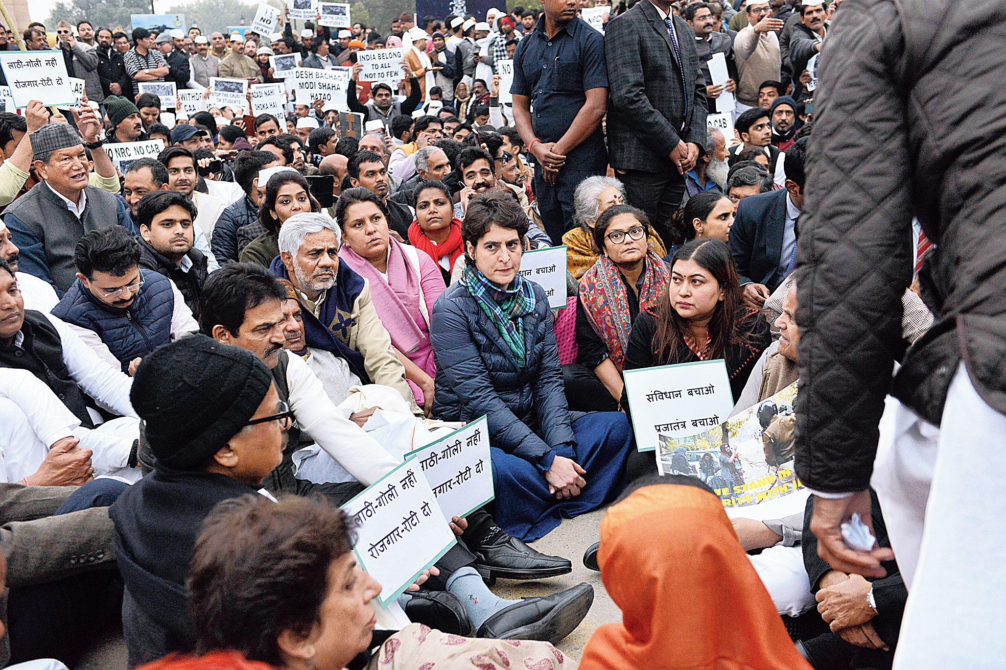 IN DELHI: Priyanka Gandhi Vadra joins a protest at India Gate