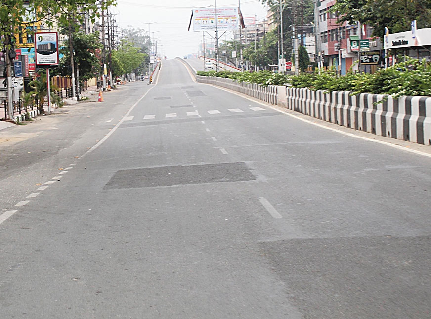 A deserted road in Guwahati during the lockdown.